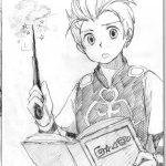 神戸芸術工科大学-推薦入学試験(前期)キャラクター表現 本を見ながら魔法の練習をしている