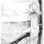 神戸芸術工科大学-推薦入学試験(前期)キャラクター表現 巨大な枝に乗り、遠くの空を見ている