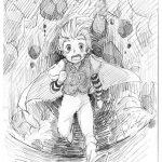 神戸芸術工科大学-推薦入学試験(前期)キャラクター表現 崩れ落ちる洞窟の中を逃げている
